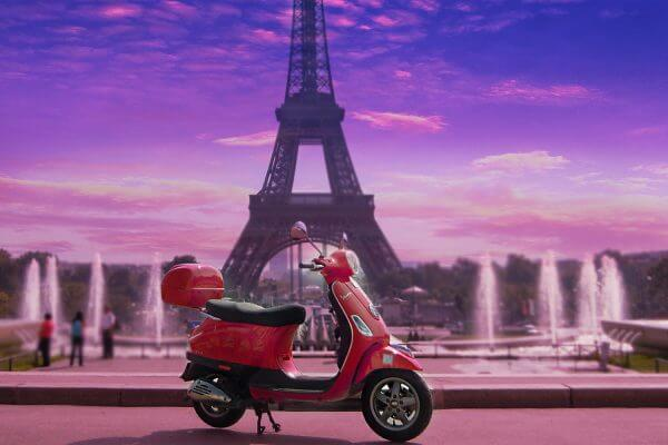 Electric scooter for ride around Paris